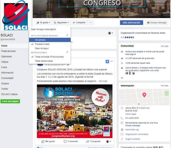 Optimización facebook SOLACI