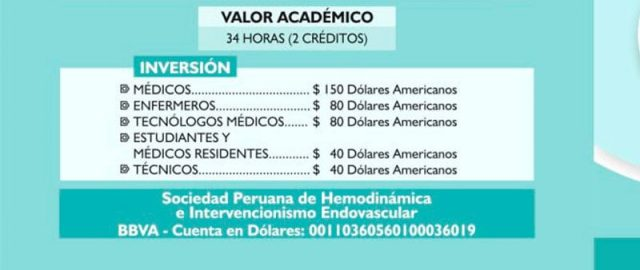 Precio inscripción Jornadas Perú 2018
