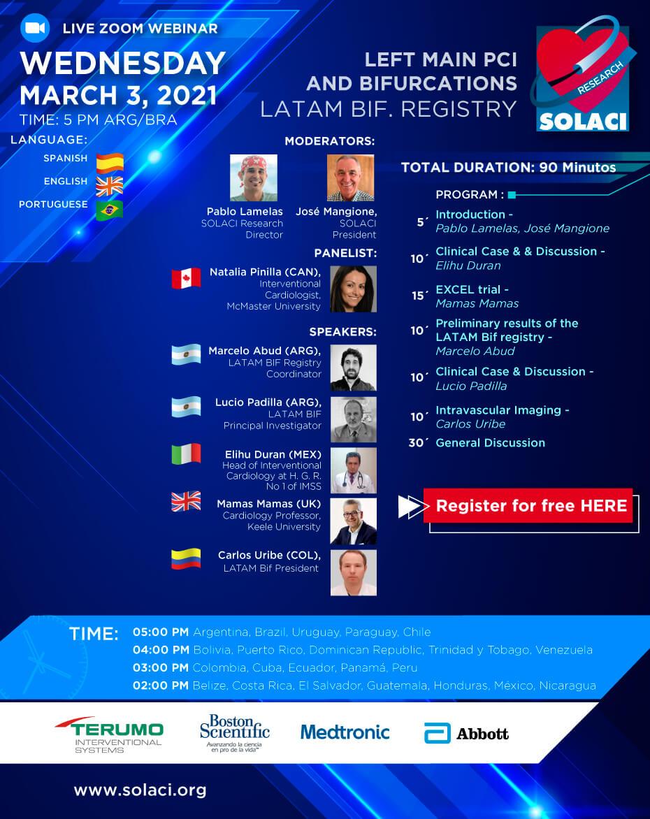 SOLACI Webinar - Left Main PCI and Bifurcations: LATAM Bif Registry