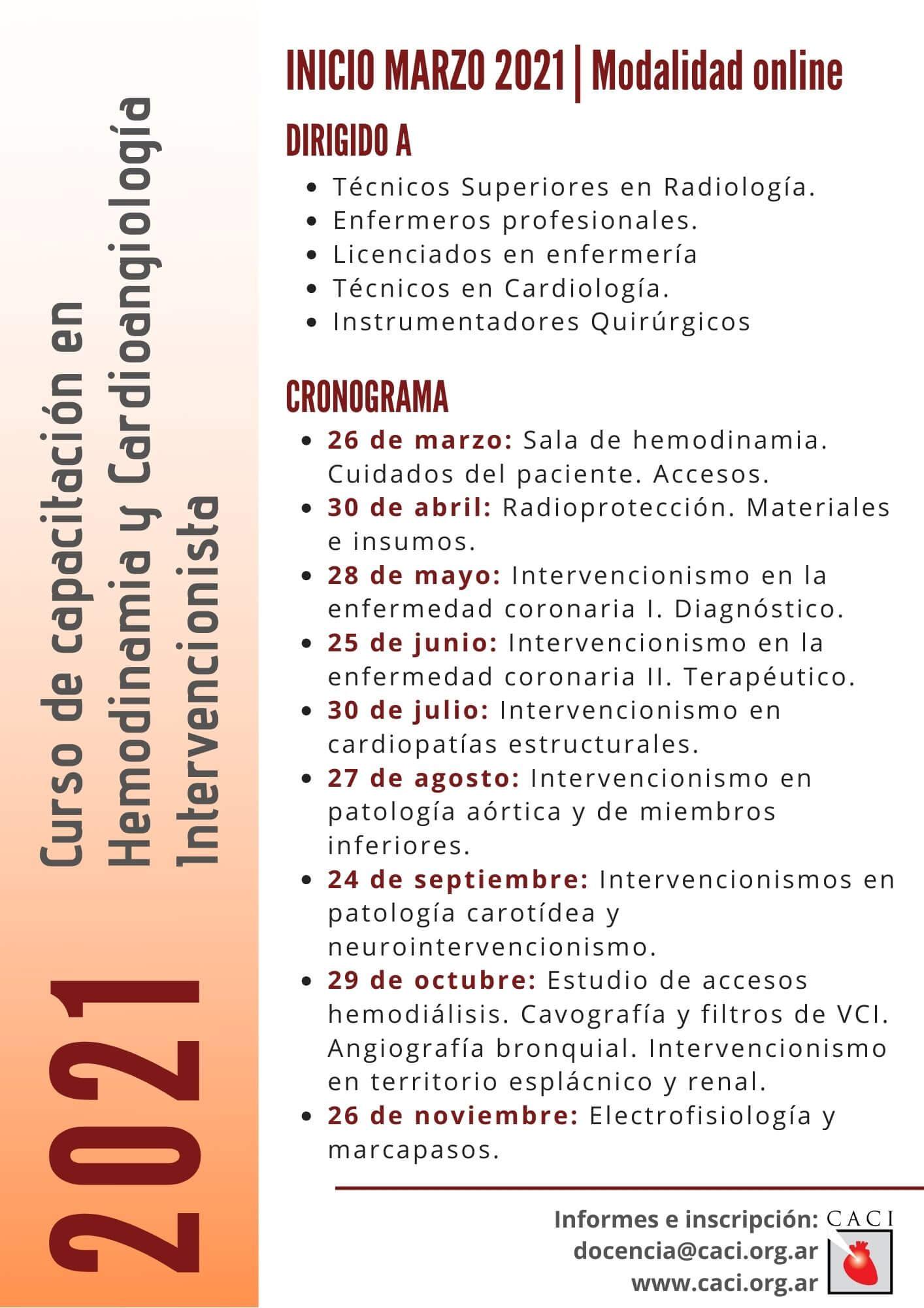 2021 Curso de capacitación en Hemodinamia y Cardioangiología Intervencionista
