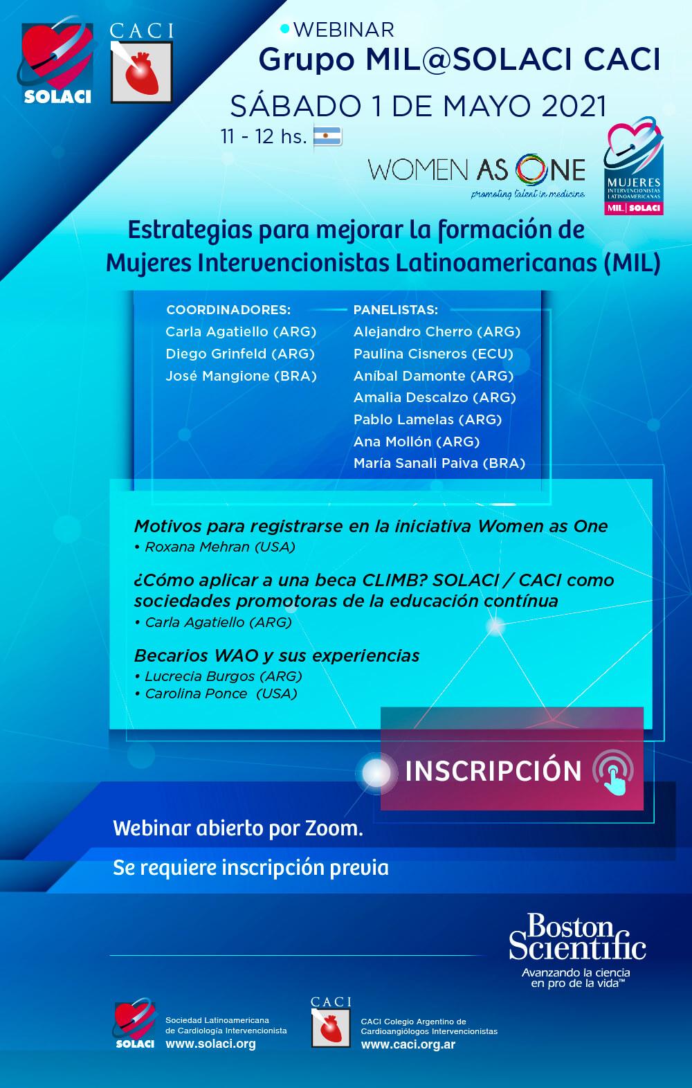 Webinar Grupo MIL-SOLACI-CACIEstrategias para mejorar la formación de Mujeres Intervencionistas Latinoamericanas (MIL)